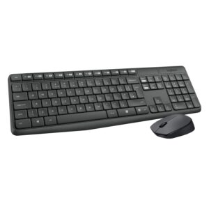 Logitech MK235 Wireless Keyboard and Mouse Combo for Windows, 2.4 GHz Wireless with Nano USB-Receiver, Wireless Mouse, 15 FN Keys, 3-Year Battery Life, PC/Laptop – Black