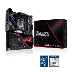 ASUS ROG Maximus XII Extreme Intel Z490 EATX Motherboard 16 Power Phase, DDR4 4700+ MHz (O.C.), Quad M.2, Dual USB 3.2 Gen 2 Front-Panel Connector, USB 3.2 Gen 2×2 Type-C, Aura Sync RGB