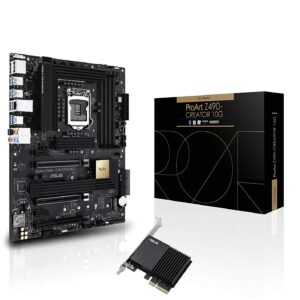 ProArt Z490-CREATOR 10G Intel® Z490 LGA 1200 ATX motherboard for content creators features a 10G LAN card, onboard 2.5G Intel LAN, dual Thunderbolt™ 3 Type-C ports, dual M.2, USB 3.2 Gen 2 ports, SATA 6 Gbps