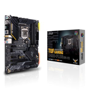 ASUS TUF GAMING Z490-PLUS (WI-FI)  Intel® Z490 (LGA 1200) ATX gaming motherboard with M.2, 14 DrMOS power stages, Intel® WiFi 6, HDMI, DisplayPort, SATA 6 Gbps, USB 3.2 Gen 2 ports, Thunderbolt™ 3 support, and Aura Sync RGB lighting