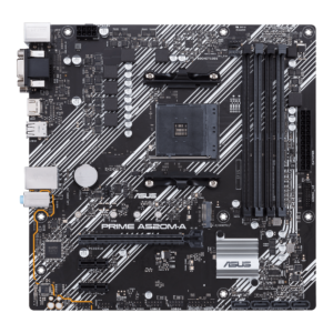 ASUS PRIME A520M-A MOTHERBOARD (PRIME-A520M-A) AMD A520 Chipset Based (Ryzen AM4) micro ATX motherboard with M.2 support, PRIME A520M-A brings in 1GB Gigabit Ethernet, SATA 6 Gbps, USB 3.2 Gen1 Type-A
