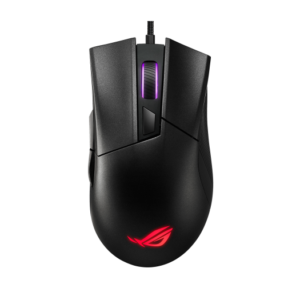 ROG Gladius II Core lightweight, ergonomic, wired optical gaming mouse with 6200-dpi sensor, ROG-exclusive switch-socket design and Aura Sync lighting