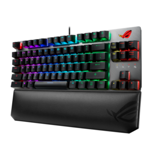 ROG Strix Scope TKL Deluxe wired mechanical RGB gaming keyboard for FPS games, with Cherry MX switches, aluminum frame, ergonomic wrist rest, and Aura Sync lighting